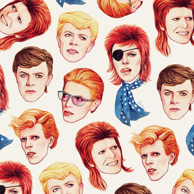 Ilustracion de david bowie, artista camaleonico, por Helen Green en el blog de moda increible pero cierzo de laguiago.com
