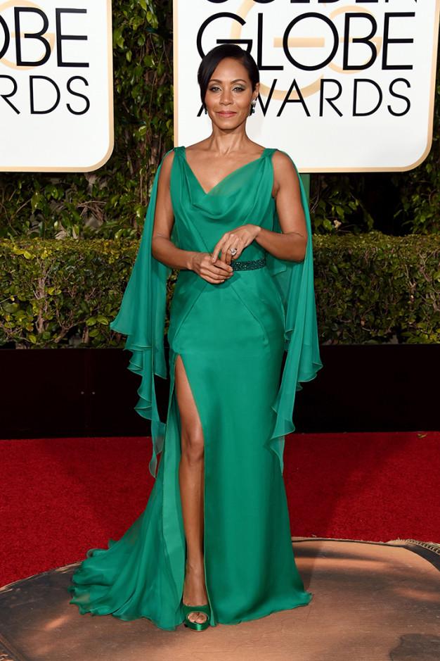 jada pinkett smith, mujer de will smith, entre las peor vestidas de los globos de oro 2016 por increible pero cierzo