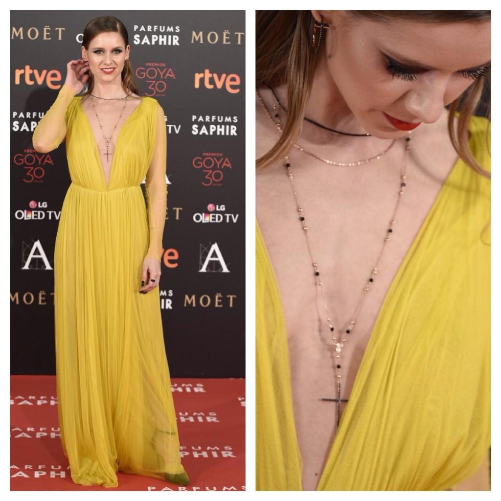 """Otra de las """"chicas Velvet"""", Manuela Vellés arriesgó y apostó por el amarillo con este diseño de Cortana para las mejor vestidas de la alfombra roja de los premios Goya 2016. Blog de moda increíble pero cierzo"""