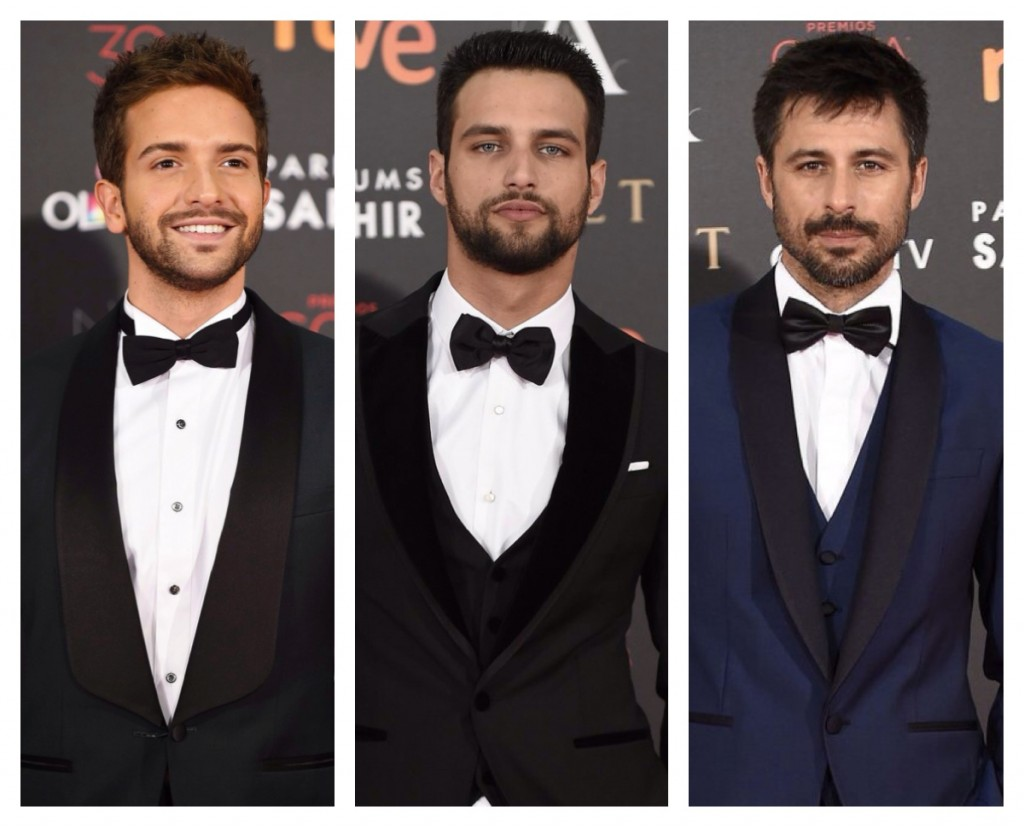 Los chicos mejor vestidos de la gala de los goya 2016 del blog de moda increíble pero cierzo. Pablo Alborán, Jesus y Hugo Silva.
