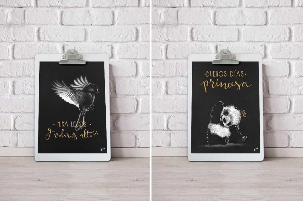 Laminas diseñadas por Eva Monge con animales sobre fondo negro y lettering serigrafiado a mano el tinta oro. Sorteo en el blog de moda y diseño de Zaragoza Increíble pero cierzo. Diseño e Ilustración Zaragoza