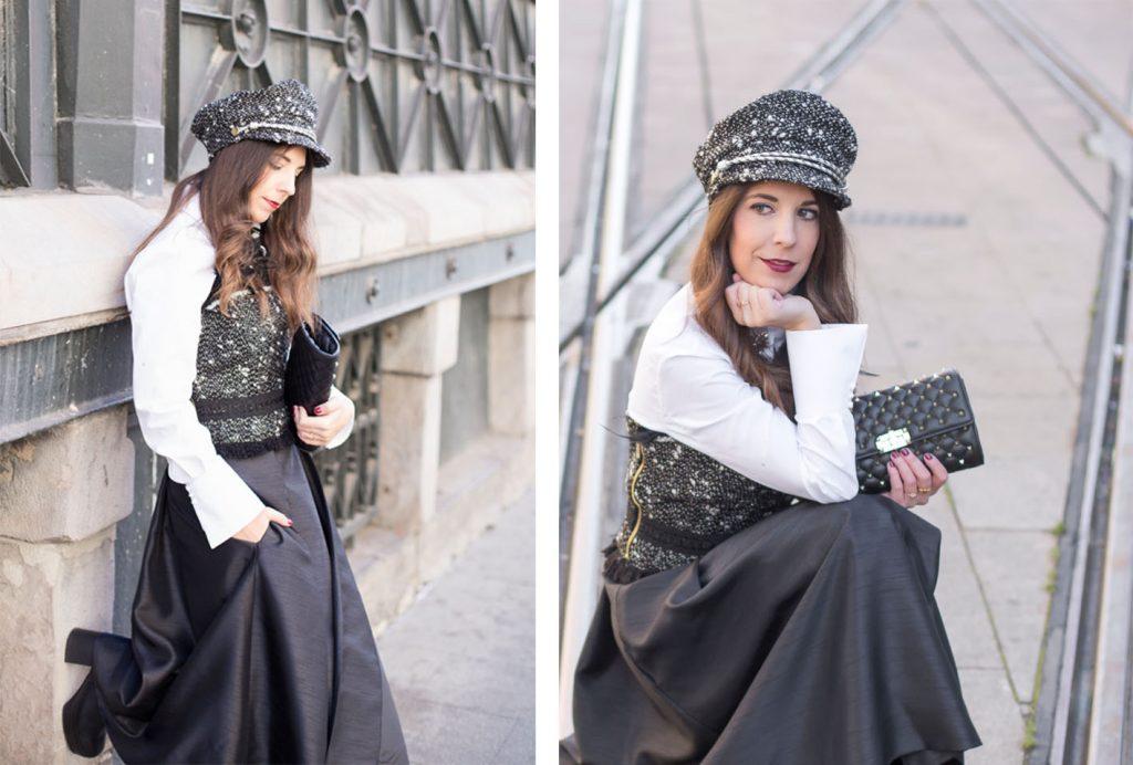 Look blanco y negro con ropa de Marinanto Atelier y gorra Gabardos en el blog de moda increíble pero cierzo. Fotos Kinojam